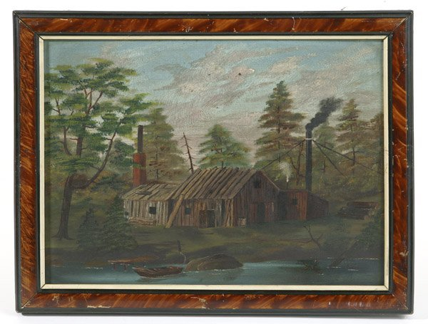 21: 19TH CENTURY FOLK ART PAINTING OF SAWMILL