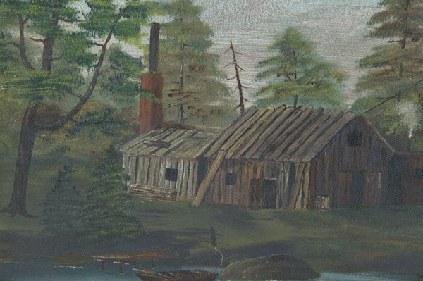 21: 19TH CENTURY FOLK ART PAINTING OF SAWMILL - 2