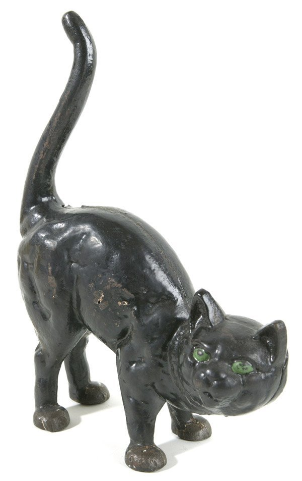 23: OLD CAST IRON CAT DOORSTOP W/ORIGINAL PAINT