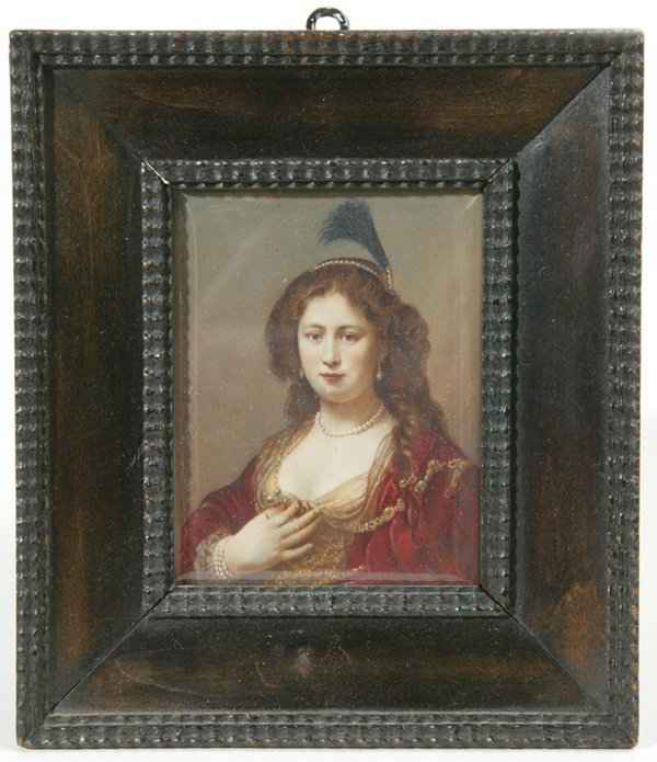 1002: MINIATURE PAINTING ON IVORY OF LADY W/PEARL JEWEL