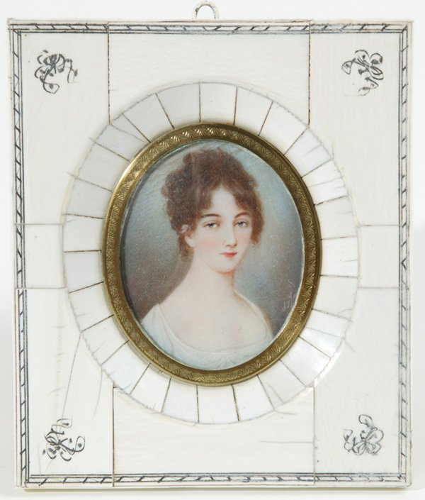 1006: SIGNED MINIATURE PAINTING ON IVORY OF YOUNG LADY