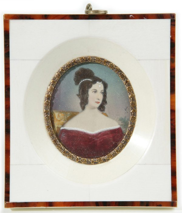 1008: SIGNED MINIATURE PAINTING ON IVORY OF LADY