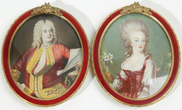 1009: MINIATURE PAINTING ON IVORY OF LOUIS XV & MADAME