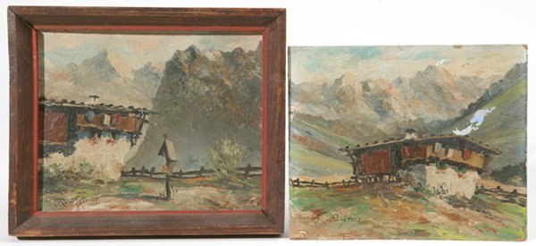 1016: TWO AUSTRIAN PAINTINGS - ROLF SCHEY LISTED ARTIST