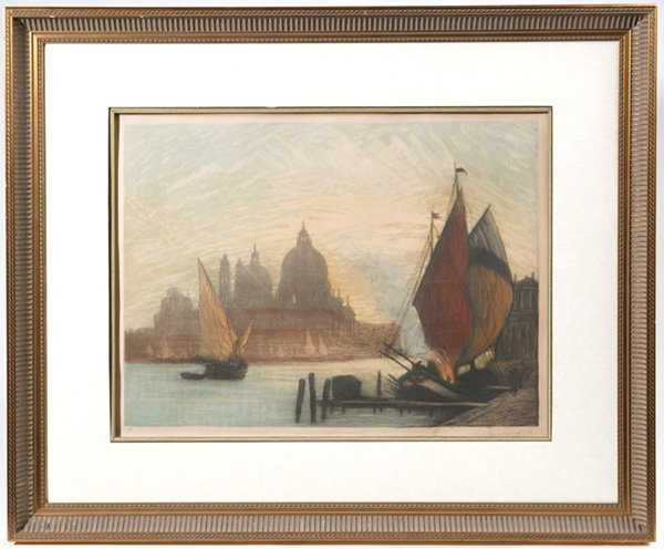 1017: LARGE COLORED ETCHING W/SAILBOATS