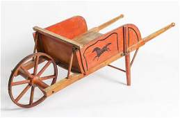 Decorated Child's Wheel Barrow With Horse
