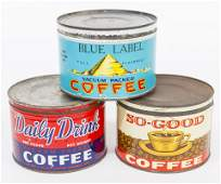 Three Cincinnati Coffee Tin Cans