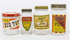 Four Early Peanut Butter Jars