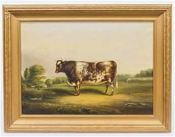 Thomas K. Van Zandt Folk Art Cow Oil Painting