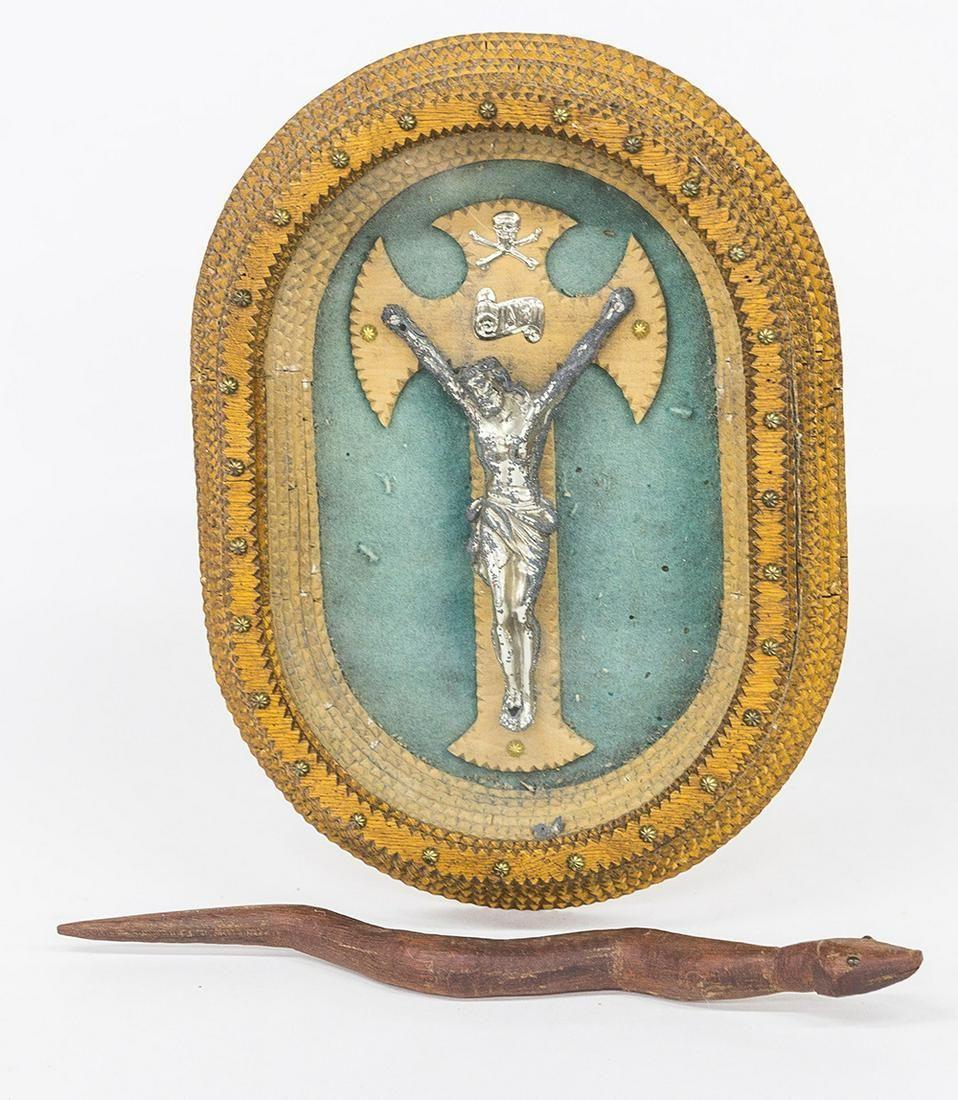 Tramp Art Crucifix & Folk Art Snake