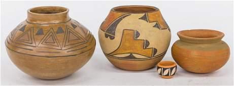 Four Pieces Pueblo Pottery