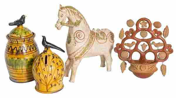 Four Pieces Folk Art Pottery