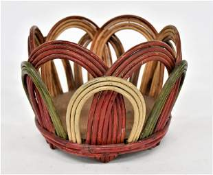 Decorated Bent Cane Basket With Old Paint