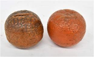 Polychrome painted Terra Cotta Fruit Banks