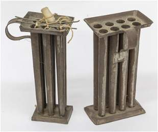 Two Tin Candle Molds