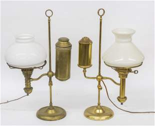 Two Brass Student Lamps