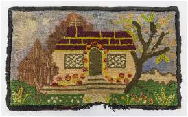 Early Hooked Rug with Cottage