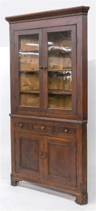Corner Cupboard in Old Red Finish