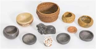 Large Lot Miniature Native American Baskets & Pottery