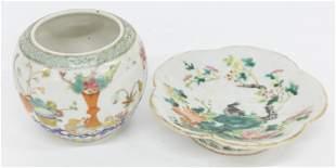 Famille Rose Porcelain Bowl & Vase