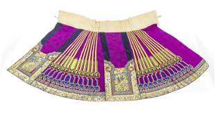 Outstanding Chinese Embroidered Silk & Linen Skirt