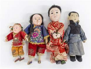 Four Early Chinese Dolls