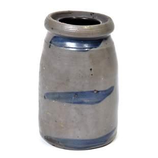 Three Line Cobalt Stoneware Jar