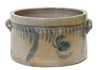 Cobalt Decorated Stoneware Milk Pan