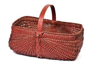 Early Painted Basket In Old Red