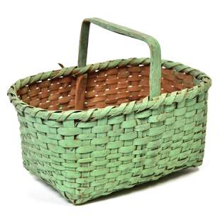 Early Painted Basket In Old Green