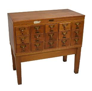 Oak Index Card File on Stand