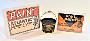 Dutch Boy Paint Bucket & Wet Paint Signs
