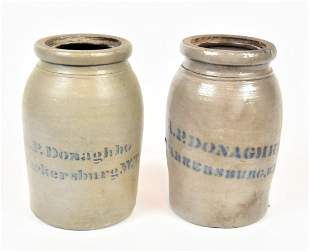 Two A.P. Donaghho Stoneware Canning Jars