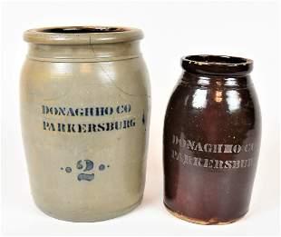 Two Donaghho & Co. Stoneware Jars