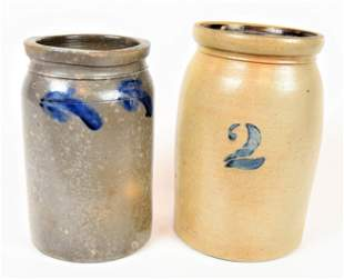 Two Decorated Stoneware Jars