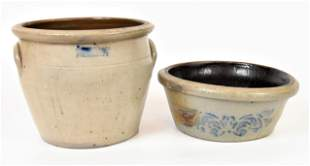 Two Pieces Decorated Stoneware