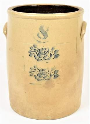 Rose Decorated Stoneware Jar
