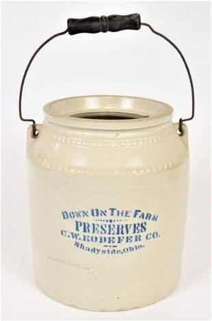 Rare Shadyside Ohio Stoneware Jar