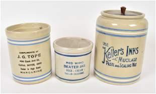 Three Decorated Stoneware Jars