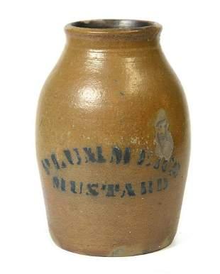 Unusual Plummer's Mustard Blue Decorated Stoneware Jar