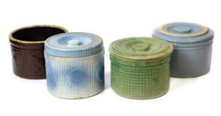 Four Stoneware Butter crocks