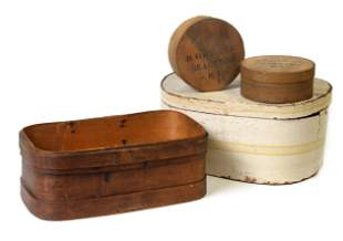 Four Early Bentwood Boxes Including Hat Box
