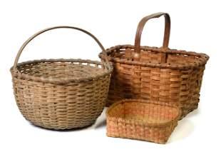 Three Early Split Hickory Baskets