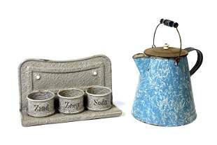 Garniteware Coffee Pot & Hanging Shelf