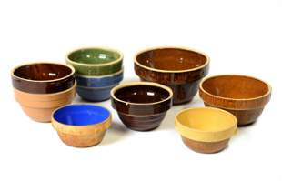 Nine Stoneware Kitchen Bowls