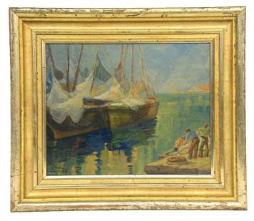 Laura Cassidy Harbor Scene Oil Painting