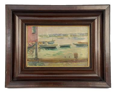 John Rettig Harbor Scene Oil Painting