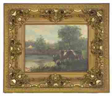Cattle Painting with illegible Signature