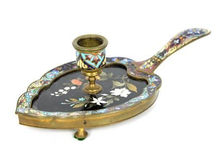 Pietra Dura & Enameled Chamber Stick