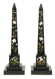 Pair Pietra Dura Obelisk